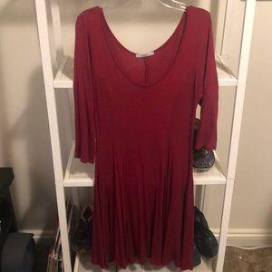Dark red light weight casual dress